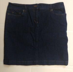 Jones NY Sport Petite Dark Denim Skirt 14 p